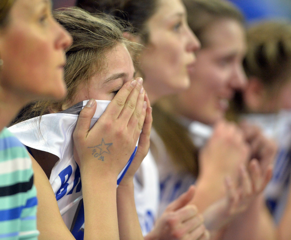 "Broomfield's Stephanie Peterson reacts as the Eagles loose to Ralston Valley during the state 5A great eight  game at the Denver Coliseum on Friday.<br /> <br /> More photos:  <a href=""http://www.BoCoPreps.com"">http://www.BoCoPreps.com</a><br /> David R. Jennings/Staff Photographer<br /> March 4, 2016"