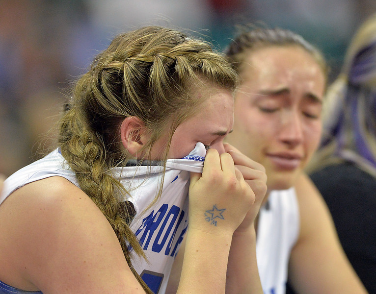 "Broomfield's Taylor Gilmore, left, and Brenna Fankel react as the Eagles loose to Ralston Valley  in the state 5A great eight  game at the Denver Coliseum on Friday.<br /> <br /> More photos:  <a href=""http://www.BoCoPreps.com"">http://www.BoCoPreps.com</a><br /> David R. Jennings/Staff Photographer<br /> March 4, 2016"