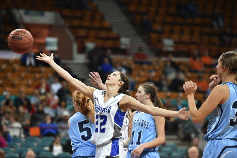 "Broomfield's Brenna Chase reaches for the ball against Ralston Valley's during the state 5A great eight  game at the Denver Coliseum on Friday.<br /> <br /> More photos:  <a href=""http://www.BoCoPreps.com"">http://www.BoCoPreps.com</a><br /> David R. Jennings/Staff Photographer<br /> March 4, 2016"