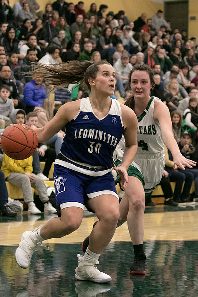 Oakmont Regional High School girls basketball played Leominster High School on Wednesday night, Feb. 5, 2020 in Ashburnham. LHS's #30 Isabella Nevard goes in for a shot by ORHS's #4 Audrey Dolan. SENTINEL & ENTERPRISE/JOHN LOVE