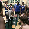 Oakmont Regional High School girls basketball played Leominster High School on Wednesday night, Feb. 5, 2020 in Ashburnham. LHS's Head Coach Rusty Frederick at a time out with 1.3 seconds left on the clock down by one. SENTINEL & ENTERPRISE/JOHN LOVE
