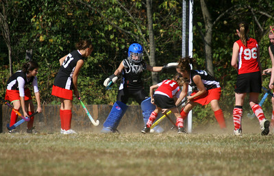 Anna trying to get the ball past the goalie...