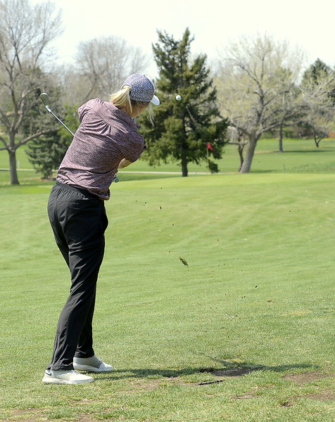 Berthoud's Kyra McDonald fires for the green during Monday's Northern Conference league meet at the Olde Course in Loveland.  (Mike Brohard/Loveland Reporter-Herald)