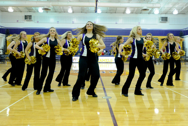 Campbell County's dance team.  Campbell Co. defeated George Rogers Clark 49-45.  (The Journal News/Scott Davis)
