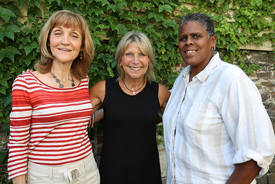 Maureen Mahoney, on left, the Founder of the Mahoney Tribute stands with the two speakers for her event on October 19th. In black is Jody Marchand From Westford who husband shot her about 6 six years ago and Isa Woldeguiorguig from the Center for Hope & Healing. SUN/JOHN LOVE