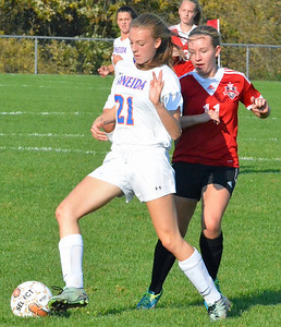 KYLE MENNIG - ONEIDA DAILY DISPATCH Oneida's Sarah Paul (21) cuts in front of Vernon-Verona-Sherrill's Marriah Doig (11) to take the ball during their Section III Class B playoff match in Oneida on Tuesday, Oct. 18, 2016.