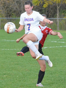 KYLE MENNIG - ONEIDA DAILY DISPATCH Oneida's Nicole Smith (7) collides with Vernon-Verona-Sherrill's Emma Lehmann (8) as she jumps to play the ball during their Section III Class B playoff match in Oneida on Tuesday, Oct. 18, 2016.