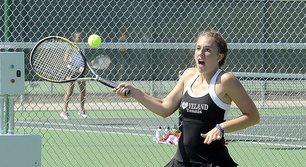 . Loveland No. 1 singles player Kira Badberg eyes a return in her first-round match Friday at the 4A Region 4 tournament at North Lake Park. (Mike Brohard/Loveland Reporter-Herald)