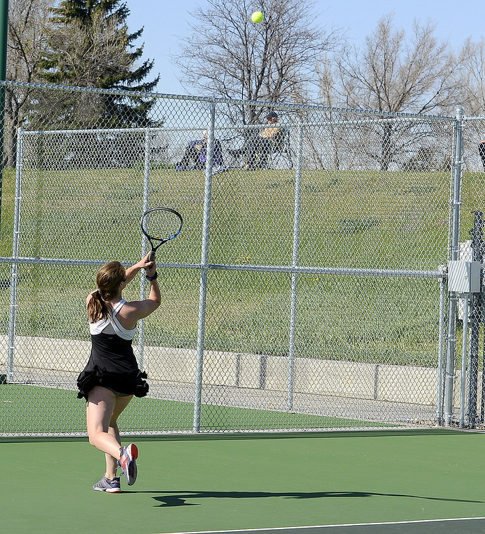 . Megan Heeseman gets back to return a shot during her No. 1 singles match Friday at the 4A Region 4 tournament at North Lake Park. (Mike Brohard/Loveland Reporter-Herald)