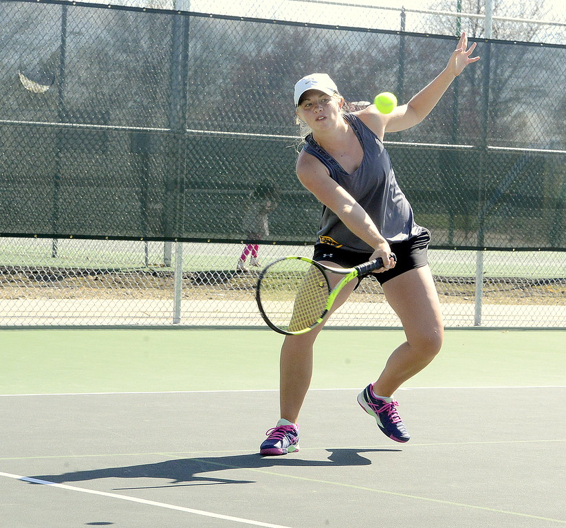 . Thompson Valley\'\'s Maddie Sheets returns ball during the championship match at No. 1 singles at the 4A Region 4 tournament at North Lake Park. (Mike Brohard/Loveland Reporter-Herald)
