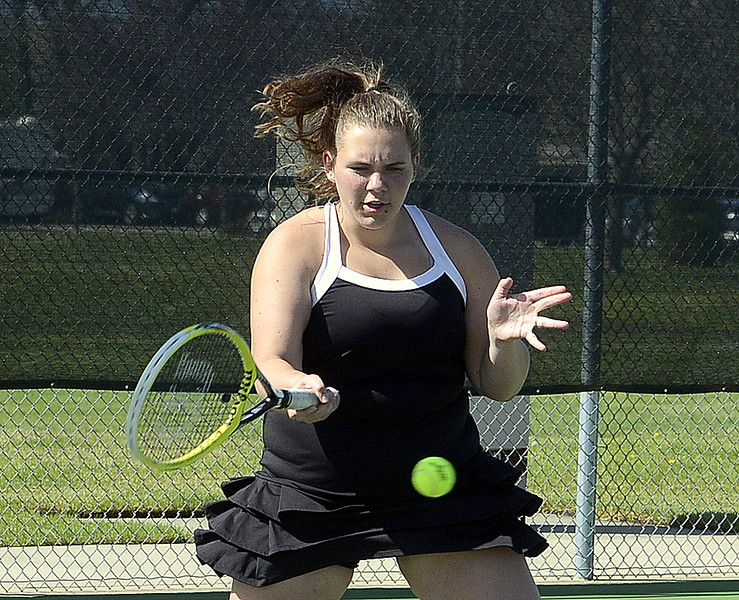 Mountain View No. 2 doubles player Natalie Alsum returns a shot Friday during the 4A Region 4 tournament at North Lake Park. (Mike Brohard/Loveland Reporter-Herald)