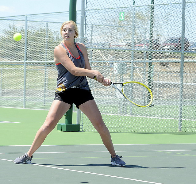 Thompson Valley No. 1 doubles player Danielle Sobraske returns a shot during Friday's 4A Region 4 championship match at North Lake Park. (Mike Brohard/Loveland Reporter-Herald)