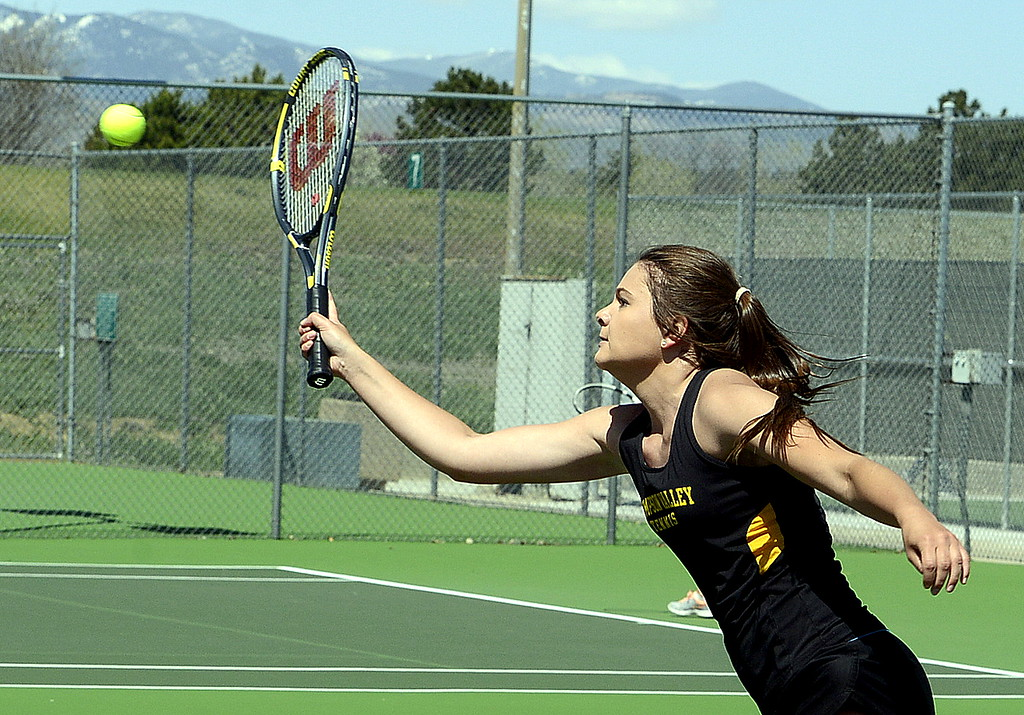 . Thompson Valley No. 3 doubles player Kaelyn Giefer returns a shot Friday during the 4A Region 4 tournament at North Lake Park. (Mike Brohard/Loveland Reporter-Herald)