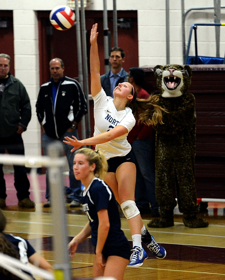 Madeline Moore (2) serves for Council Rock North.