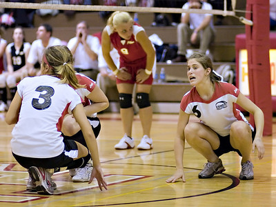 "I love this little ""pow-wow"" before the serve, although at one point it did cost them a ""wax off"" penalty."