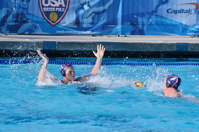 SwimOutlet.com Junior Olympics 2011 - Platinum Division 18U Girls Championship Game - Huntington Beach Water Polo Club Blue vs Santa Barbara A 8/7/11. Final score 6 to 5. First Place HBWPC vs SBWPC. Photos by Allen Lorentzen.