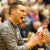 Record-Eagle/Brett A. Sommers <br /> <br /> Glen Lake head coach Jason Bradford gives instruction to his team during Tuesday's Class C quarterfinal girls basketball game in Gaylord against St. Ignace. Glen Lake won 63-52.