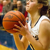 Record-Eagle/Brett A. Sommers <br /> <br /> Glen Lake's Allie Bonzelet lines up a three-point attempt during Tuesday's Class C quarterfinal girls basketball game in Gaylord against St. Ignace. Glen Lake won 63-52.