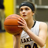 Record-Eagle/Brett A. Sommers <br /> <br /> Glen Lake's Savannah Peplinski shoots a free throw during Tuesday's Class C quarterfinal girls basketball game in Gaylord against St. Ignace. Glen Lake won 63-52.