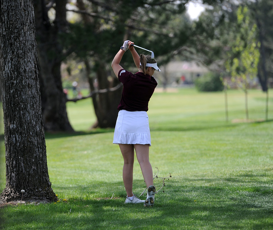 . Tatum Graham gets out of trouble during the 3A Region 3 tournament at Highland Hills Golf Course on Monday, April 6. (Colin Barnard/Loveland Reporter-Herald)