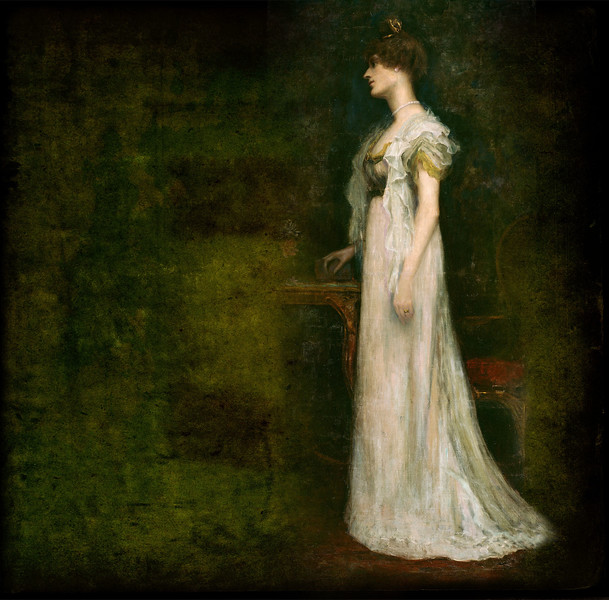 The full-length portrait of Countess Constance Markievicz painted by her husband Casimir Dunin Markievicz in 1899 (shown here on a textured background). The portrait is in the National Gallery of Ireland, Dublin.