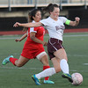 Lynn, Ma. 10-3-17. Desiree Ruiz, 14, of Everett, challenges Sydney denham at Manning Field today.