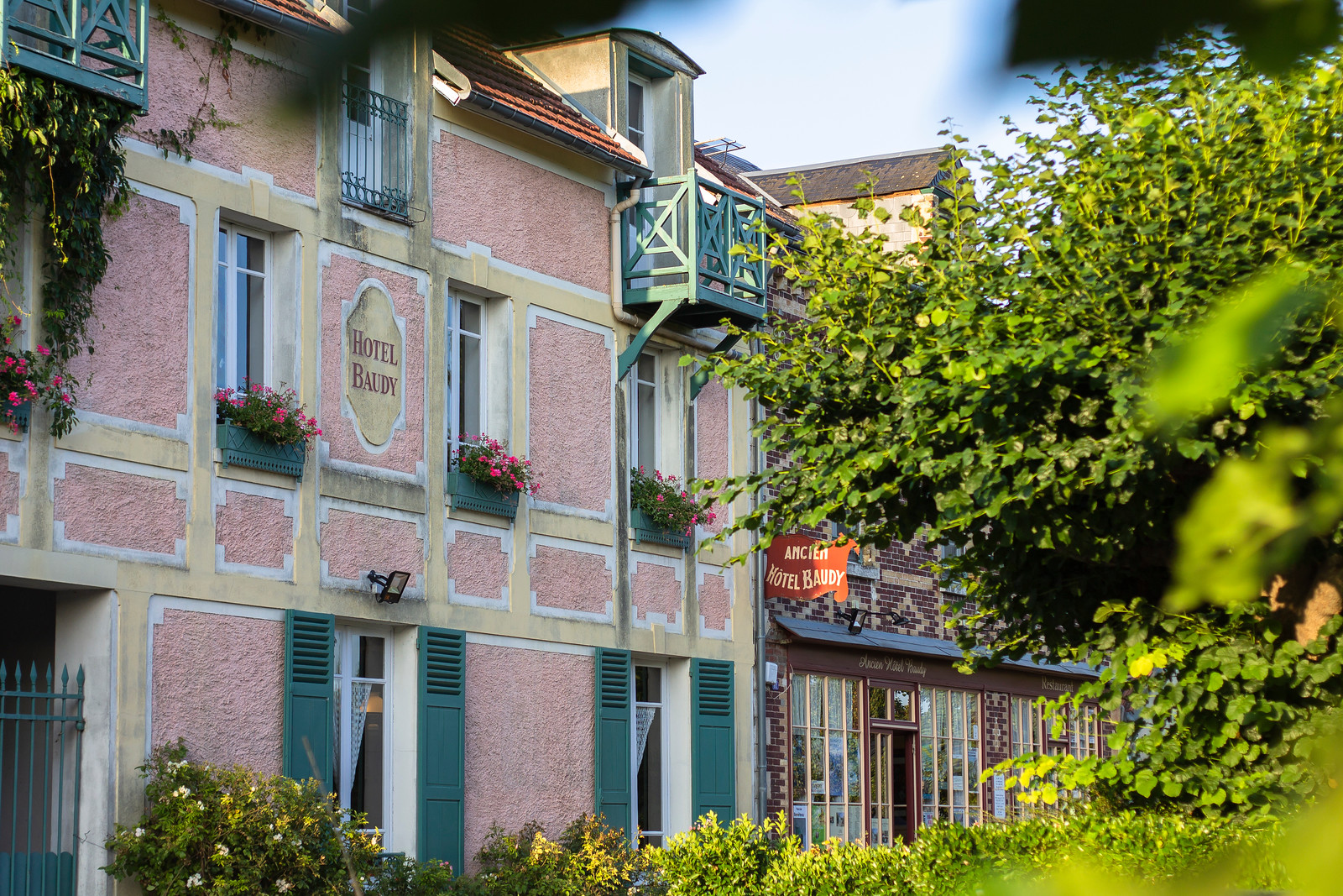 Giverny town featuring the pink Hotel Baudy