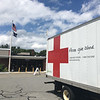 An America Red Cross truck served as a billboard advertising the Father's Day Blood Drive in Billerica. Photo by Mary Leach