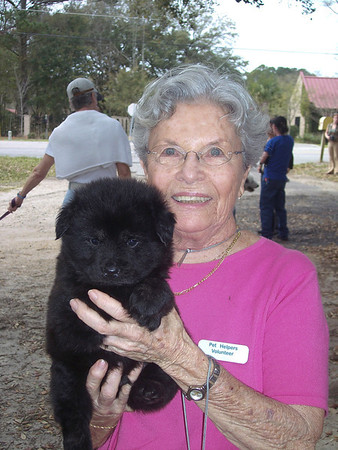 Piepsi Joyce and one of the puppies from the Ocean's Thirteen litter on dog moving day