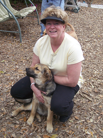 Dede Tyler and King, the puppy, ready to move to the new shelter