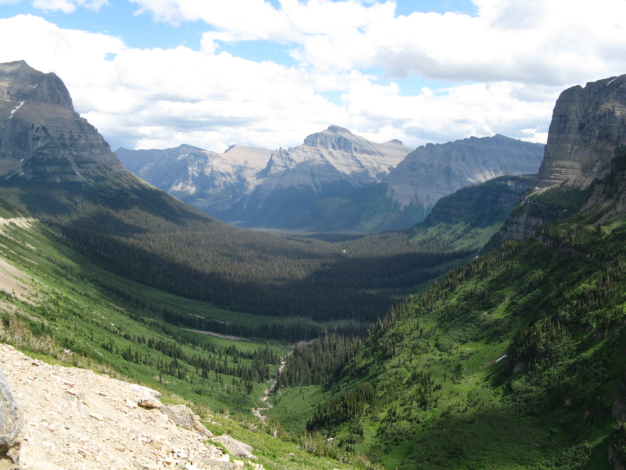 Looking eastward from Logan Pass with Reynolds Creek at the bottom of the valley.