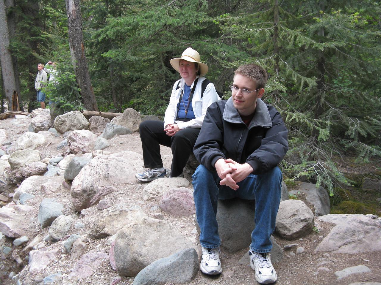 Mary and Kevin looking at Baring Falls.