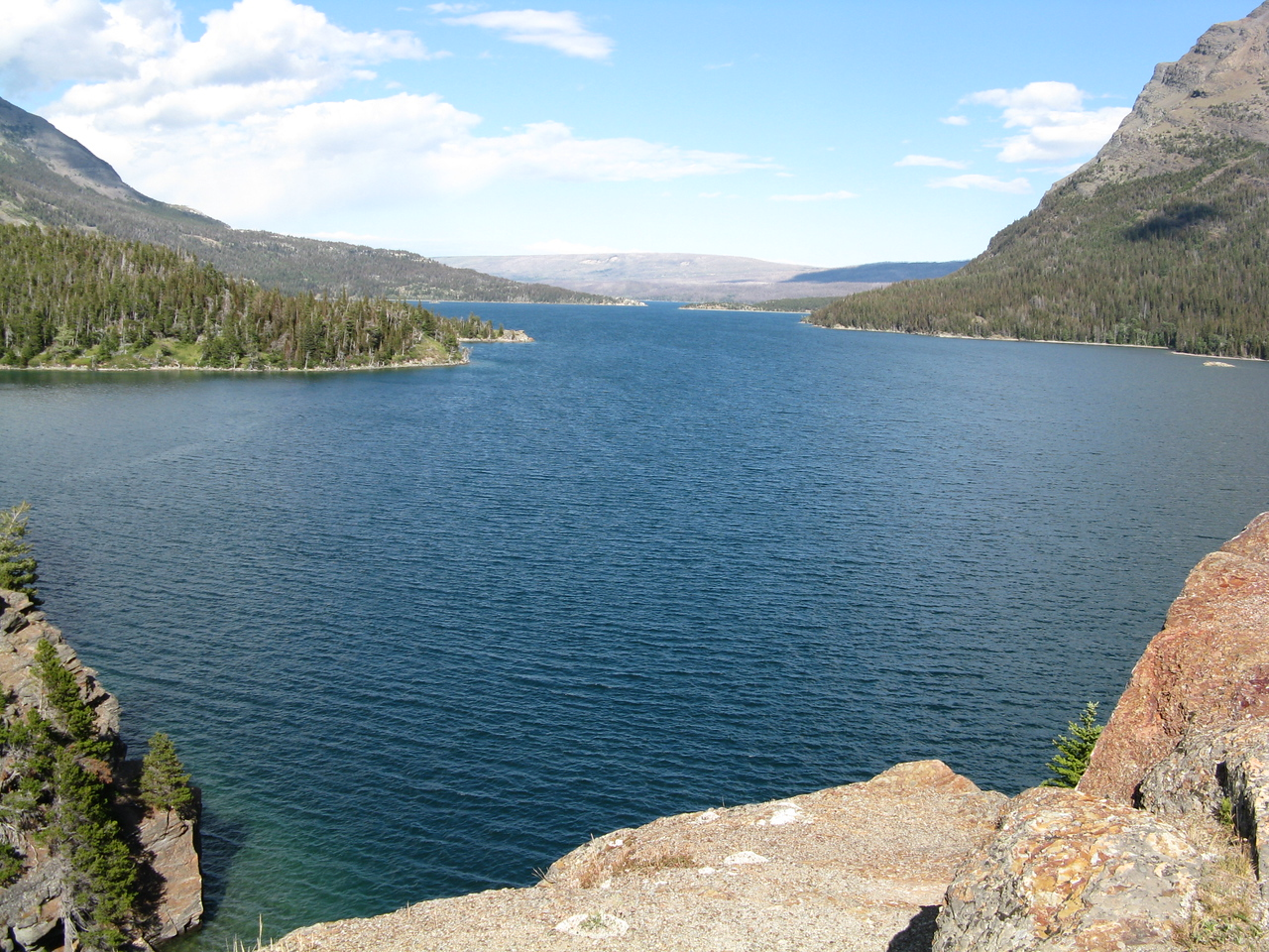 From Sun Point, we are looking eastward towards the outlet from Saint Mary Lake.