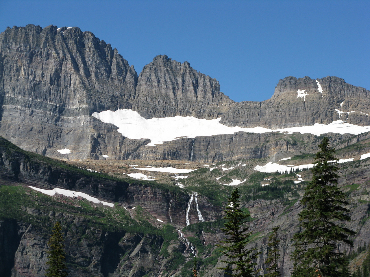 We could see these twin falls from the road as we drove to the Many Glacier Hotel.  It is named Grinnell Falls.