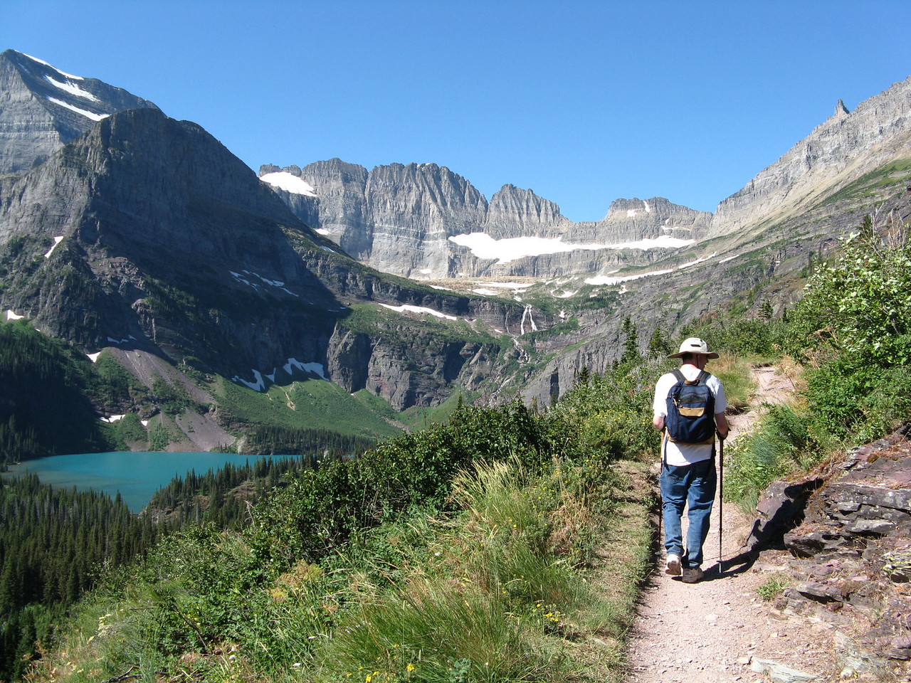 The turquoise lake on the left is Grinnell Lake.  Kevin.
