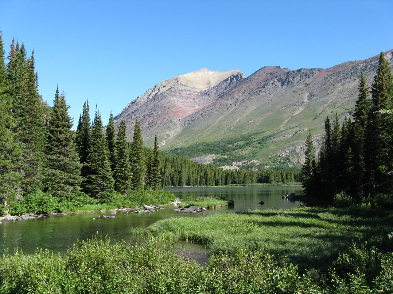 Grinnell Creek in the foreground at the upper end of Swiftcurrent Lake.