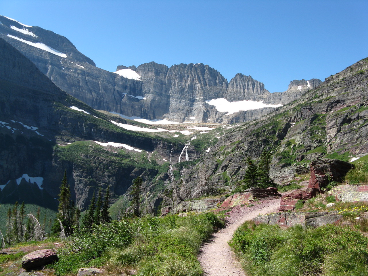 Mount Gould, Grinnell Falls, and the trail.