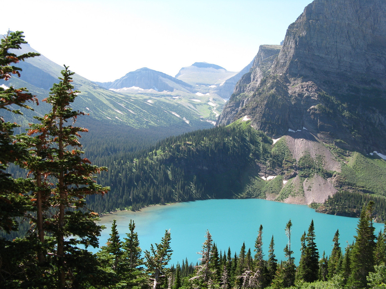 Looking south southwest at Grinnell Lake and beyond.  About 3.5 miles.