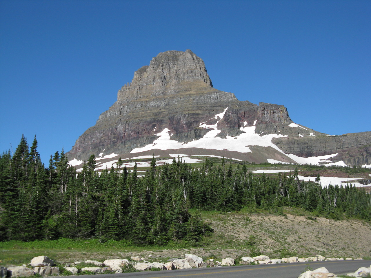 Clements Mountain, 8760 feet high, behind the visitor center, seen from across the Going-To-The-Sun Road.