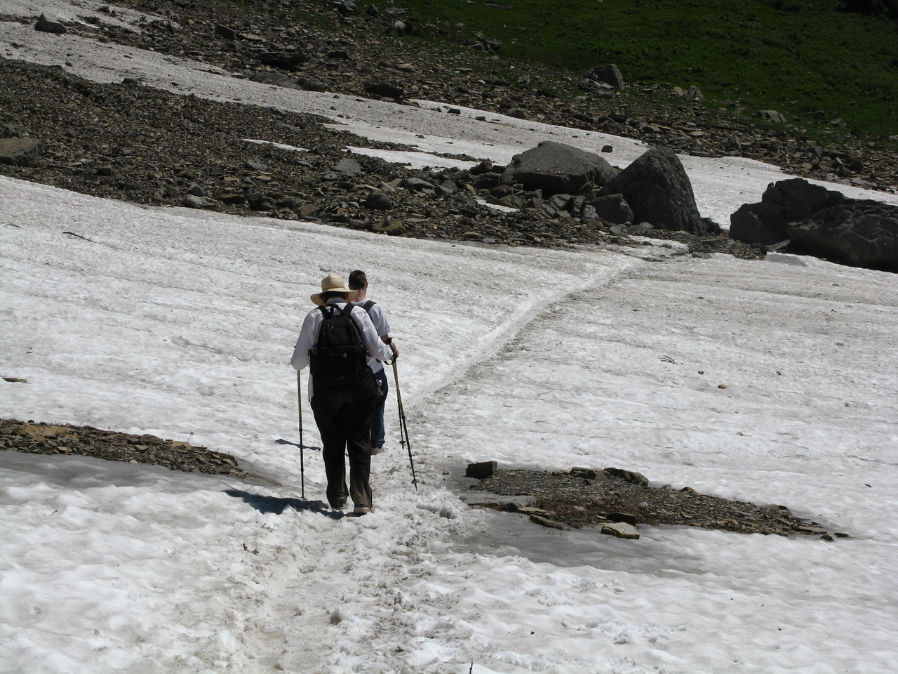 Trudging through the second snow field.