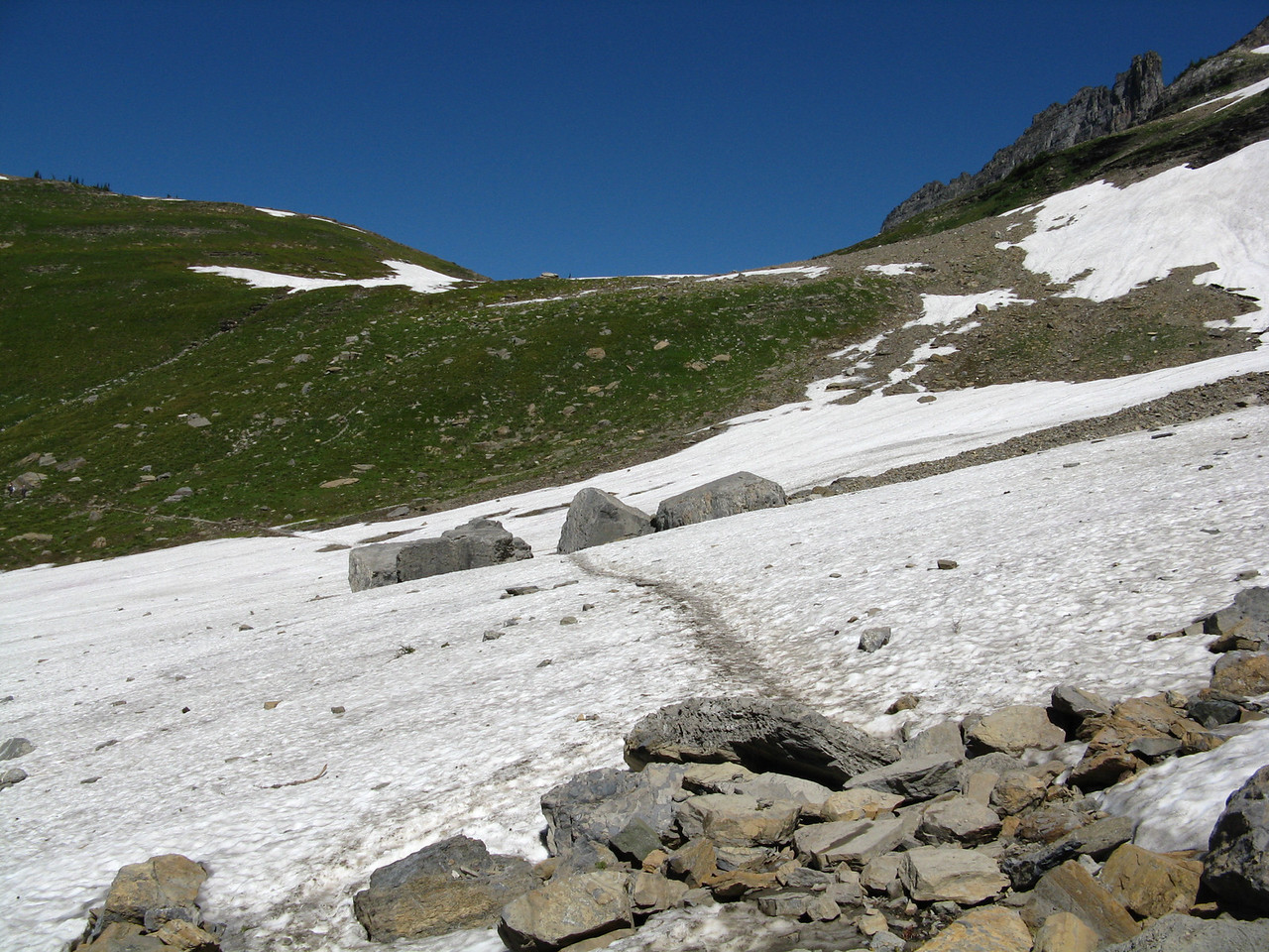 The second snow field was longer than the first, but the slope was much less.
