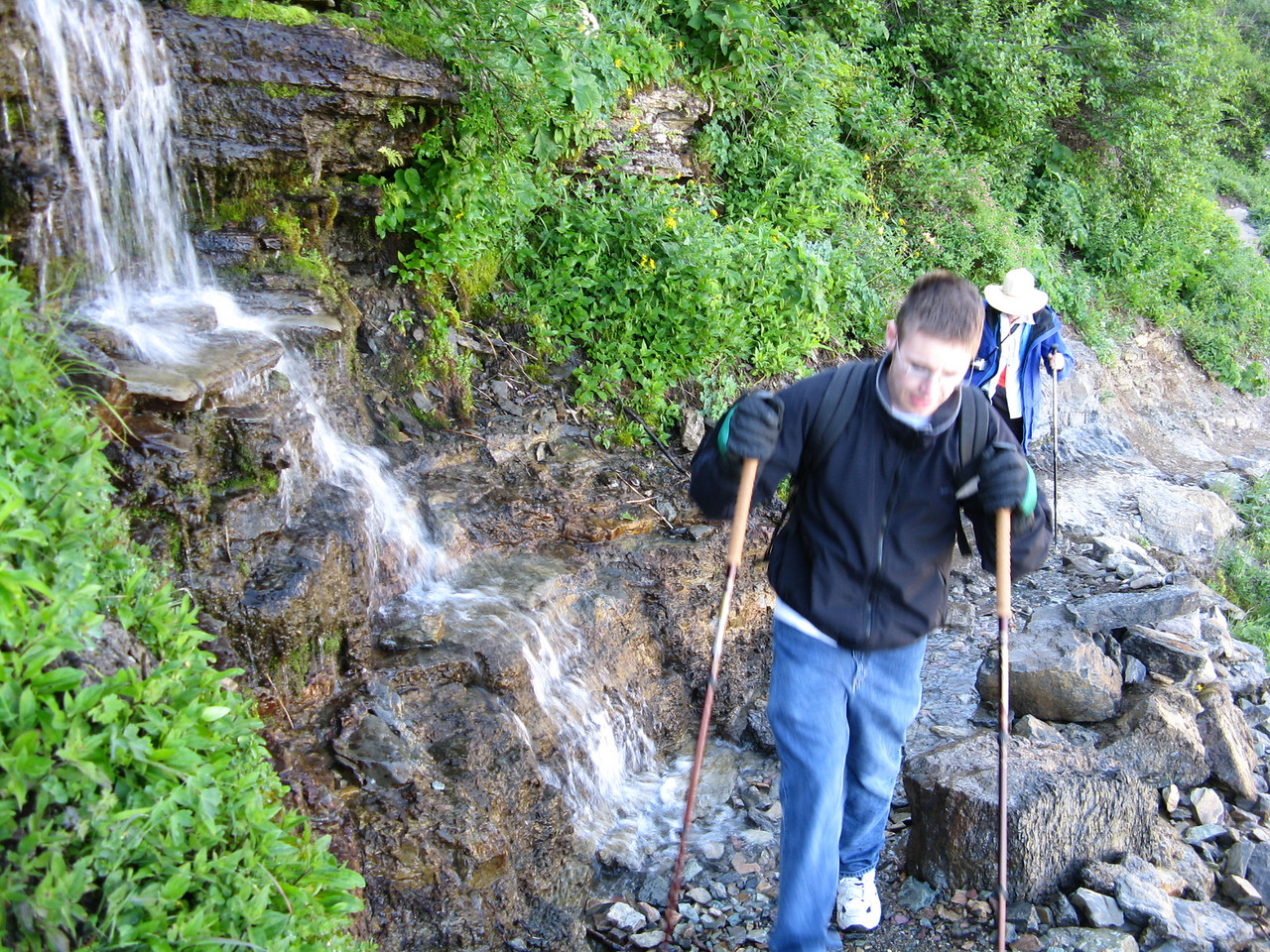 Kevin moving beyond the waterfall.