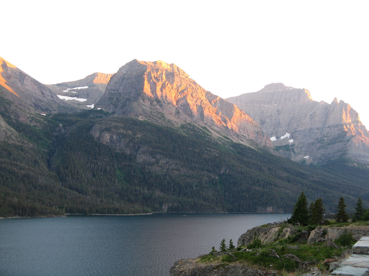 Sunsetting on the mountains across Saint Mary Lake from the Going-to-the-Sun Road.