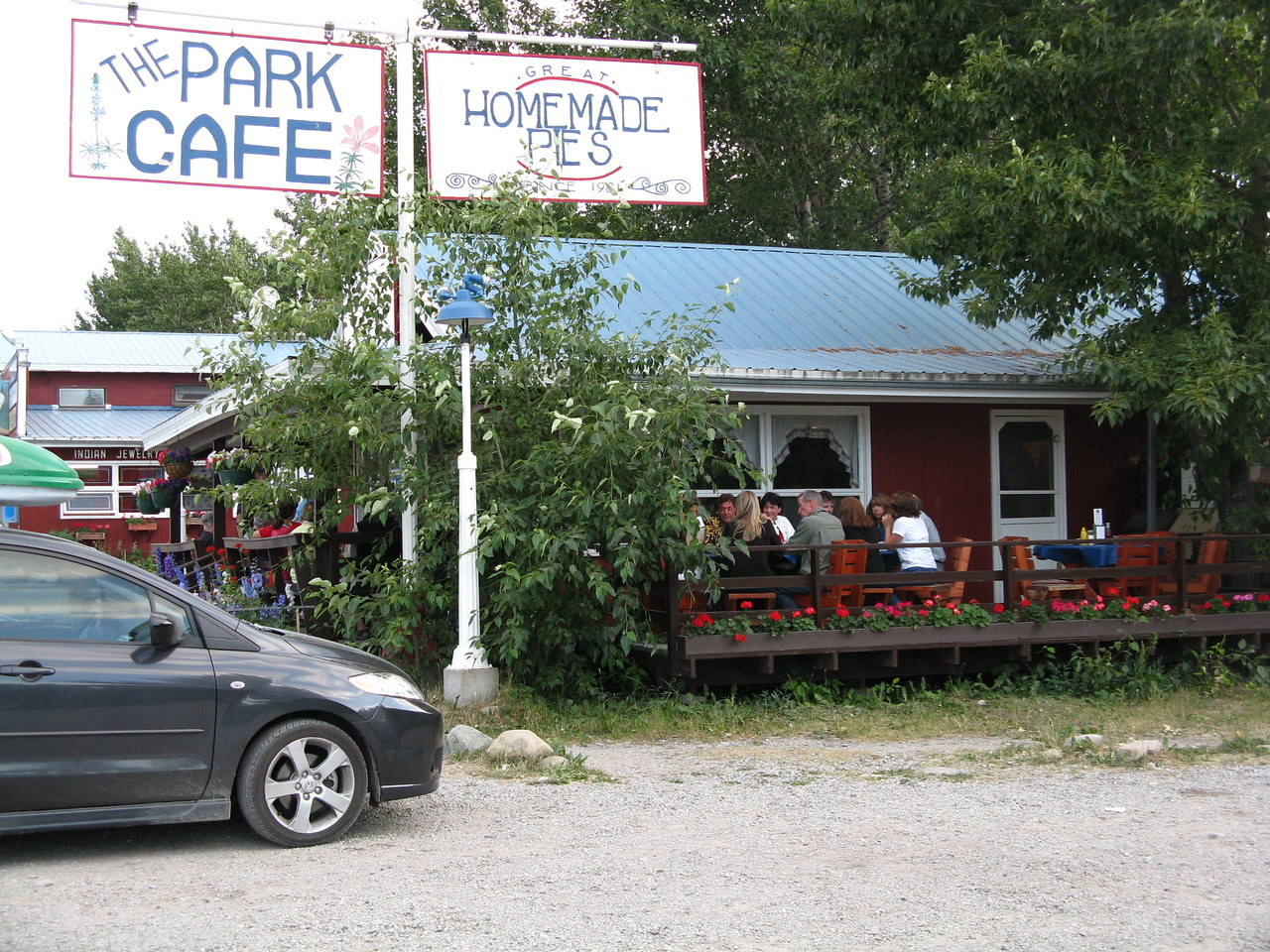 We looked online for places to eat in Saint Mary, Montana.  There were only 3.  And this one, The Park Cafe, got rave reviews.  We ended up eating dinner here 3 nights in a row.  Strawberry, blueberry-cranberry, and razzleberry (mixed berry) pies were delicious. Hey, after a long hike, we could afford to splurge on a few extra calories. Because we hung out here every evening, I took a picture.