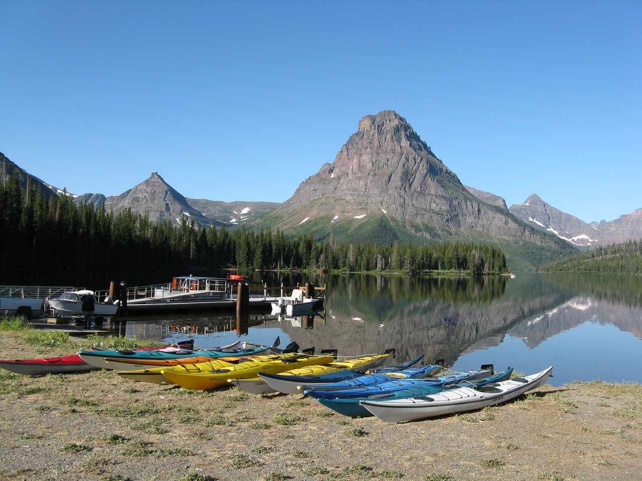 It was a beautiful morning as we headed towards the boat dock on Two Medicine Lake.