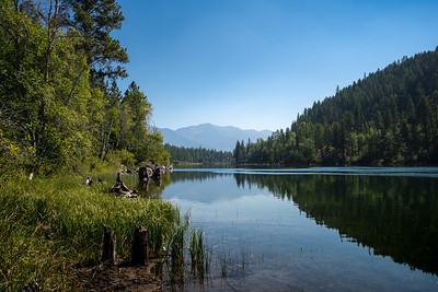 Reflection of Forested Mountains Across a Calm Lake in Montana