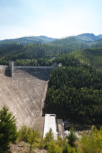 Hungry Horse Dam in the Forested Mountains of Montana