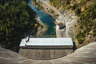 Looking Down to the Hydroelectric Power Station at Hungry Horse Dam in Montana
