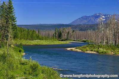The North Fork of the Flathead river snakes through the West side of Glacier.