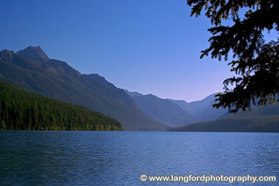 This is Bowman Lake.  Bowman Lake can be reached by taking a 6 mile drive down a bumpy dirt road.  The drive is worth it.
